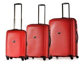 Zestaw trzech walizek PUCCINI PP010 ABC czerwony